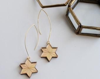 Celestial Star Drop Earrings in Gold or Silver