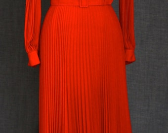 1970s Amazing Bright Red Pleated Maxi Dress