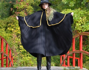 vintage 80s Black Cape | Sherlock Wool Military Riding Cloak CAPE Coat | Gold Trim