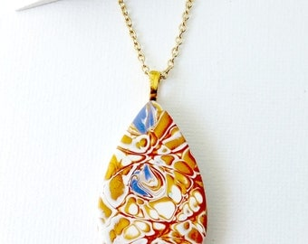 Polymer Clay Pendant, Gold, Purple, Handmade