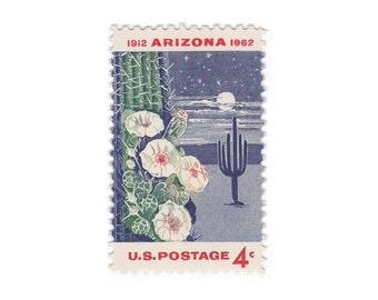 10 Unused Vintage Postage Stamps - 1962 4c Arizona Statehood - Item No. 1192