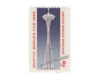 1962 4c Seattle Space Needle - 10 Unused Vintage Postage Stamps - Item No. 1196