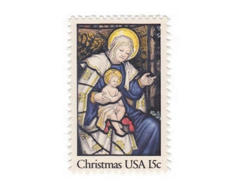Qty of 10 - 1980 15c Vintage Unused Christmas Postage Stamp - Madonna and Child - Item No. 1842