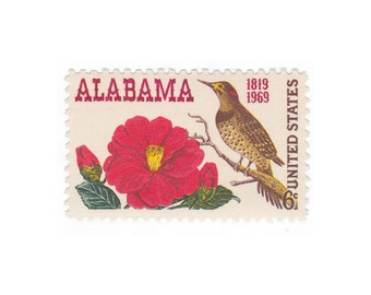 10 Unused Vintage Postage Stamps - 1969 6c Alabama Statehood - Item No. 1375