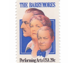 1982 20c The Barrymores - 10 Unused Vintage Postage Stamps - Item No. 2012