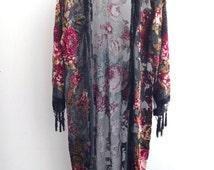 Black Kimono Gypsy , Silk Burnout Women Boho Fringe Floral Kimono Cardigan Tassels Cover Up Cape Jacket black Gifts for Her