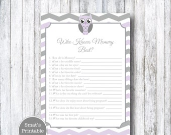 Purple & Grey Owl Baby Shower Who Knows Mommy Best Quiz Game - PRINTABLE Chevron Theme - Instant Download Baby Shower Games - Grey Gray