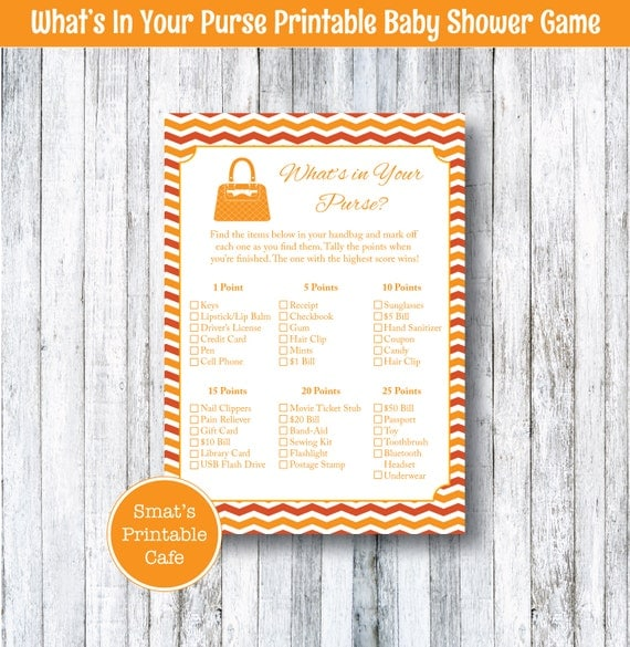 what 39 s in your purse game printable baby shower games handbag
