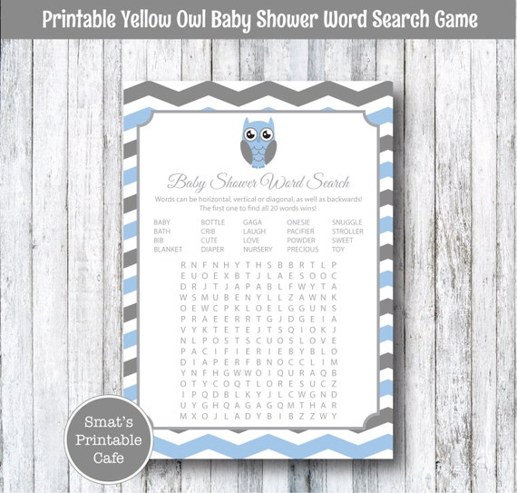 Blue & Gray Chevron Owl Baby Shower Word Search Game Cards