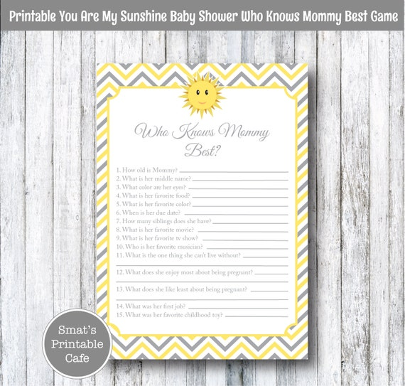 You Are My Sunshine Baby Shower Game Who Knows Mommy Best