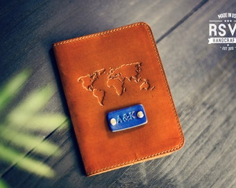 Personalized Leather Passport Cover, Real Leather, holder, wanderlust travel, World map Passport Cover, handmade, Custom text, name initials