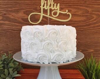 Age 50 Cake Topper, 50th Birthday Cake Topper