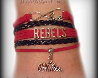 Free Shipping!!Ole Miss REBELS Infinity Love Bracelet with Ole Miss Charm