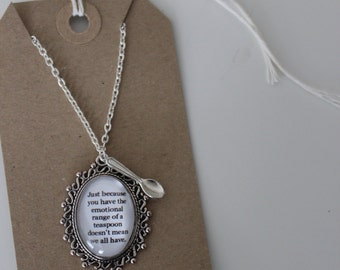 Harry Potter Inspired Quote Necklace With Teaspoon Charm - Hermione
