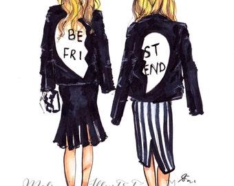 BFF (Fashion Illustration Print)