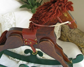 Godiva Chocolate's Wood Rocking Horse, Vintage Rocking Horse, Hand Crafted Display Horse, Great For Play Room, Gift For Her