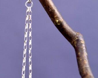 Sterling Silver Donut Bead + Chain Earrings