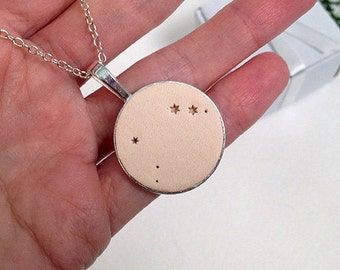 Aries constellation necklace Aries leather necklace Aries zodiac jewelry Aries custom constellation Aries jewelry Horoscope zodiac aries