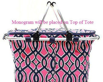 Monogrammed Insulated Market Bag  Pink Trellis Insulated Picnic Tote