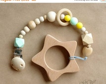15% OFF THRU OCT Pacifier Clip, Pacifier Holder, Teething Toy, Wooden Teether, Teething Ring, Baby Shower, Baby Gift, Silicone Pacifier Clip