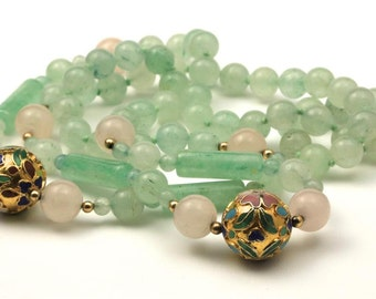 Vintage Rose Quartz & Green Aventurine Bead Necklace with Gold Cloisonne Balls