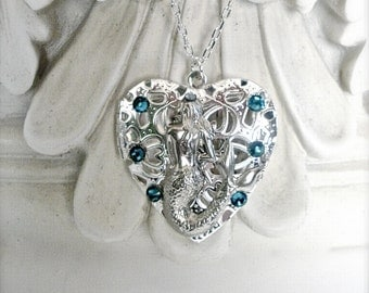 Mermaid Heart Shape Locket Necklace, Antique Silver Locket Necklace, Nautical Locket, Heart Shape Filigree Locke Necklace, Gift for Her