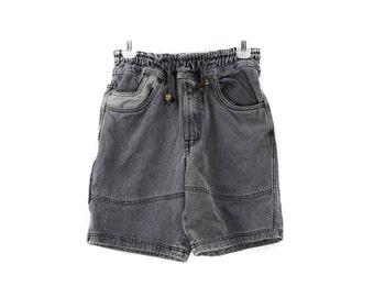 80's Black Dyed Denim Stone Washed High Wasted Shorts