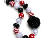 Team Spirit Chunky Necklace-Red Black White-Bubblegum Jewelry-Theme Park Jewelry-Sports Necklace-Football Necklace-Georgia-Dress Up Jewelry