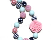 Nautical Chunky Necklace-Pink Navy Light Blue Bubblegum Necklace-Big Bead Necklace-Birthday Party Jewelry-Pink Birthday Party-Dress Up