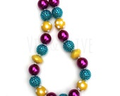 Jewel Tones Chunky Necklace-Turquoise Yellow Rose Pink Bubblegum Necklace-Big Bead Necklace-Birthday Party Jewelry-Dress Up-Photo Prop