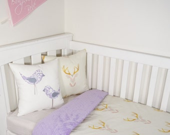 Pink and purple woodland deer nursery set items