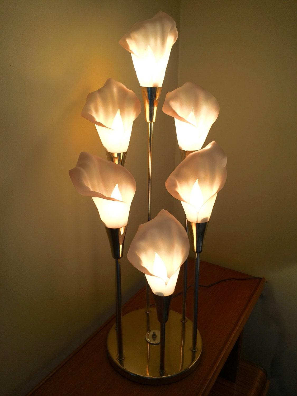Calla Lilies Lamp Mid Century Modern Brass 6 Light Lamp With