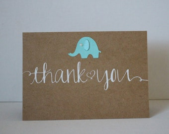 Elephant thank you cards - Kraft Thank You Cards - Baby Cards - Baby Shower Cards -  Cute Baby Cards - Baby Thank You Cards #2040