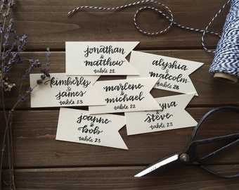 wedding place cards / drink markers / favor tags / gift tags / handwritten flag shaped customizable.