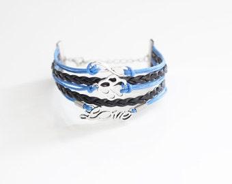Infinity Pet Paw Love Blue Black Cord Bracelet