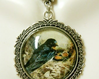 Blue bird pendant with chain - BAP25-012