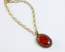 Amber Pendant Necklace, Oval Stone Jewelry, Antiqued Brass Bezel, Adult Amber Necklace, Orange Stone, Antique Gold Chain