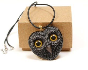Black Owl pendant: Love is Owl! Handpainted cast sculpture realized as an elegant heart shape owl necklace!