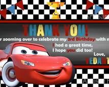 Disney Cars Thank You Card - Printable- size 4x6 - Customizable