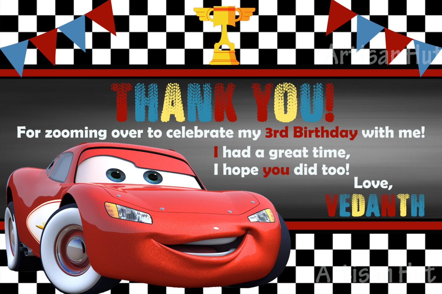 cars invitation disney cars thank you card printable size 4x6 customizable