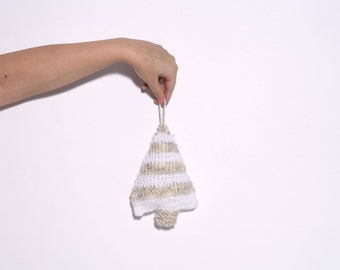 Knit 3D Snowflake Tree Ornament for Christmas