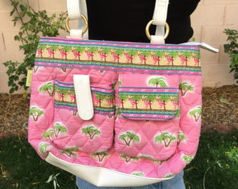 VTG 90's Pink Flamingos and Palm Trees Purse
