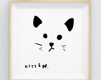 Nursery Wall Art, Cat Illustration, Cat Art, Nursery Decor, Cat Art Print, Cat Artwork, Kids Gift, Illustration Print, Nursery Illustration