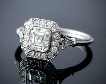 Vintage Style Asscher Cut Diamond Engagement Ring - Diamond Halo - 1.06 carat - GIA - VS2 clarity - J color - Estate Engagement Ring