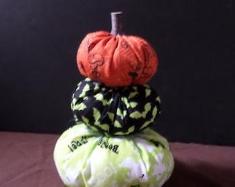 Stack of Three Handsewn Halloween Fabric Pumpkins