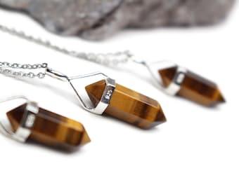 Tiger Eye Necklace - Gift Idea, Tiger Eye Pendant Necklace, Gemstone Necklace, Gift for Him, Gift for Her, Mens Necklace