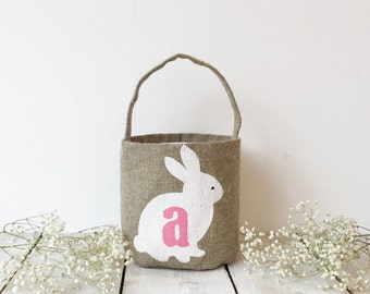 Personalized Easter basket Easter bunny basket Easter rabbit basket Monogramed easter basket   Burlap Easter basket Easter gift
