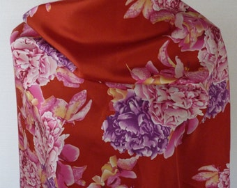 Vintage 80s 90s Designer Silk Scarf Silk Screen Peonies Quality Red Pink Lilac