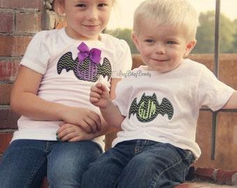 Halloween sibling shirts bat purple green chevron personalized monogram first halloween brother sister set