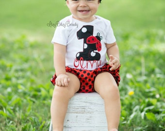 Lady bug first birthday embroidered personalized bodysuit outfit headband ladybug black and red polkadot